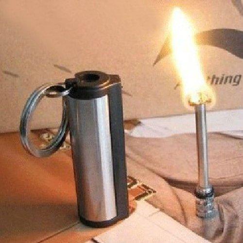 Survival Camping Hiking Emergency Fire Starter Flint Match Lighter KeyChain - Black