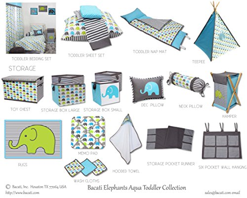 Bacati Elephants Unisex Teepee Tent for Kids, 100% Cotton Breathable Percale Fabric Cover, Aqua/Lime/Grey