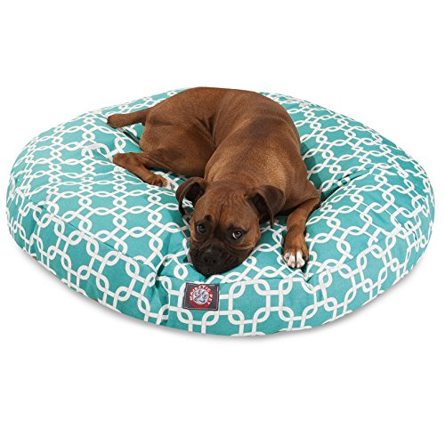 Teal Links Large Round Indoor Outdoor Pet Dog Bed With Removable Washable Cover By Majestic Pet Products
