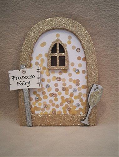 Prosecco Champagne Fairy Door - Wooden Embellished Glitter Fairy Faerie Elf Pixie Door (Pixie Door)