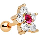 Body Candy Anodized Stainless Steel Clear Petaled Floral Tragus Cartilage Earring 1/4''