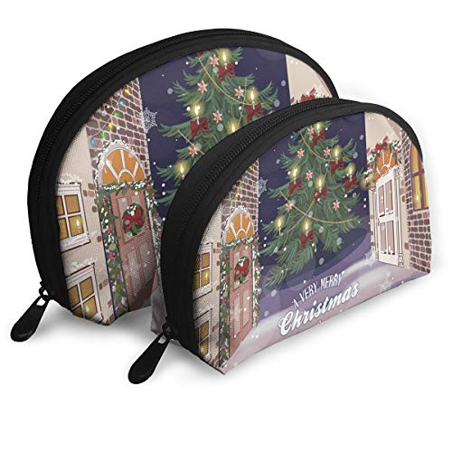 - Shell Shape Makeup Bag Set Portable Purse Travel Cosmetic Pouch,Winter Setting Streets Filled With Snow Traditional Pine Tree Ribbons Carol Quote,Women Toiletry Clutch