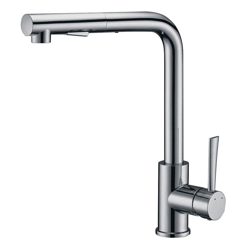 Pull Out Kitchen Sink Faucet, SURNORME Single Handle Kitchen Sink Faucet Hot & Cold Mixer Tap with Magnetic Docking Spray Head for Home, Stainless Steel Finish