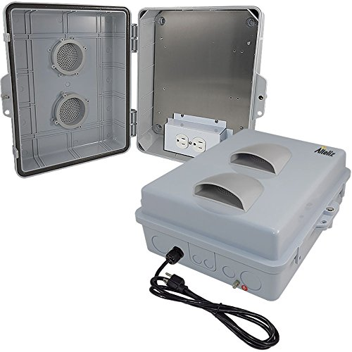 Altelix 14x11x5 Vented Polycarbonate + ABS Weatherproof Rainproof Tamper Resistant NEMA Enclosure with Aluminum Mounting Plate, Pre-Wired120 VAC Outlets and 5 Foot Power (Enclosure Mounting)