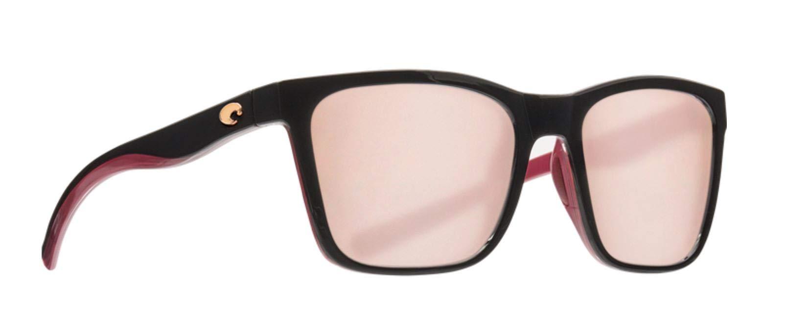 Costa Del Mar Panga Sunglasses Shiny Black Crystal Fuchsia 580P Copper Silver Mirror Polarized Plastic Lens      by Costa Del Mar