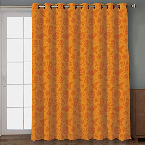 iPrint Blackout Patio Door Curtain,Halloween Decorations,Monochrome Design with Traditional Halloween Themed Various Objects Day,Orange,for Sliding & Patio Doors, 102