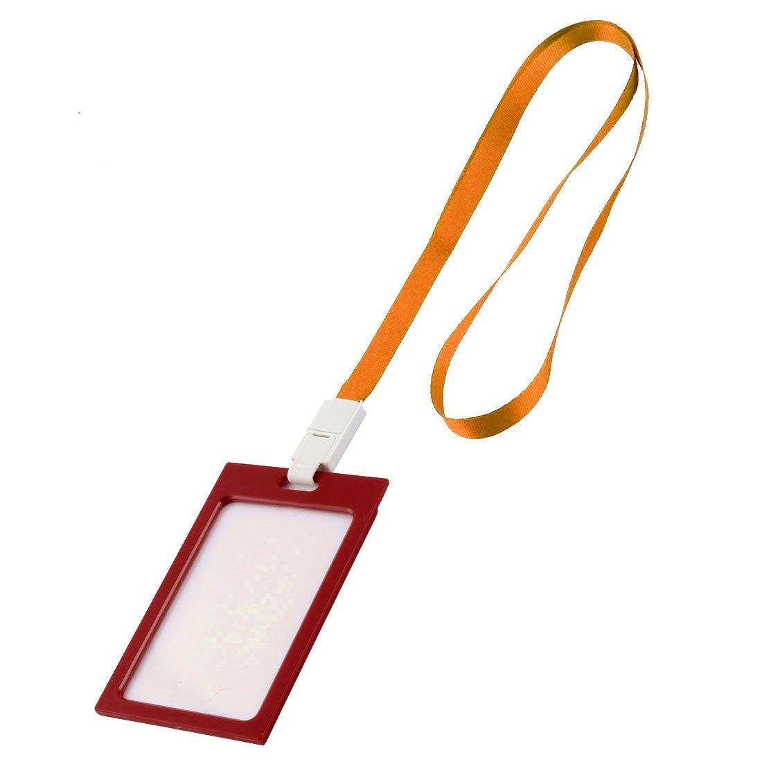 DealMux Plastic Rim Vertical Staff School Name Card Case Holder 10 Pcs Orange Red