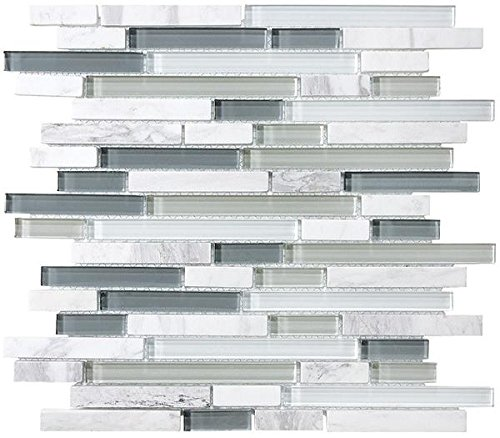 1 Square Foot - Bliss Iceland Stone and Glass Linear Mosaic Tiles - Bathroom Walls/Tub Surround/Kitchen Backsplash by Rocky Point Tile