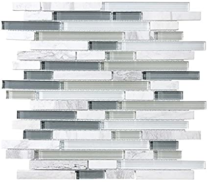 Sample - Bliss Iceland Marble and Glass Linear Mosaic Tiles for Kitchen  Backsplash or Bathroom Walls