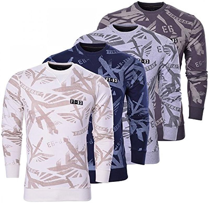 Firetrap męska designerska bluza z okrągłym dekoltem Signature cień bluza nadruk sweter gÓrna część - kremowa niebieska szara, kolor: ciemnoszary , rozmiar: s: Odzież