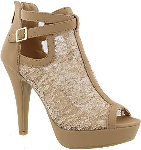 MVE Shoes Lace Bridal High Heel Platform Peep Toe Pumps - Faux Leather Open Toe Fashion Pumps, KHOLE-33 Taupe 10