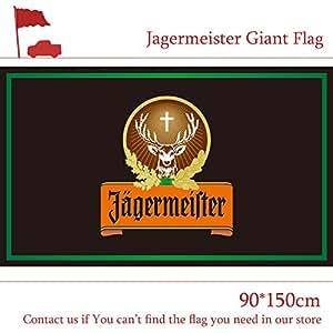 Poliéster 90x 150cm 3x 5pies Jagermeister gigante grande negro bandera para Bar casa fiesta