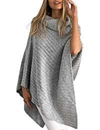 Womens Winter Warm Turtleneck Knitted Wrap Shawl Pullover Poncho Sweater Capes