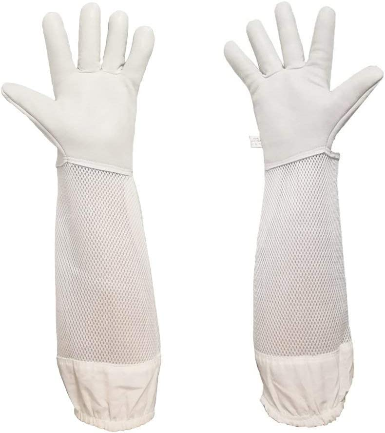 1 Pair Beekeeping Protective Gloves with Vented Long Sleeves-Grey and White LW