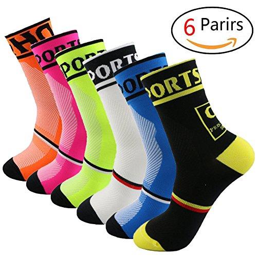 Yijiujiuer 6 Pack Men's Cycling Socks Sports Running Socks for Size 6-11 by Yijiujiuer