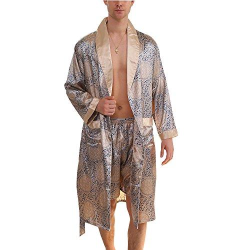 - BridalAffair Men's Summer Luxurious Kimono Robe Soft Satin Bathrobe Long-Sleeve Nightgown Printed Pajamas