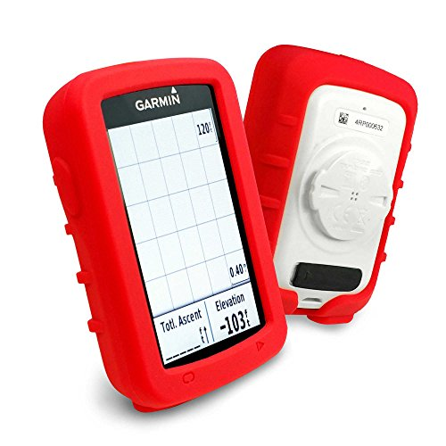 (Tuff-luv Silicone Gel Skin Case and Screen Cover for Garmin Edge Explore 820 - Red)