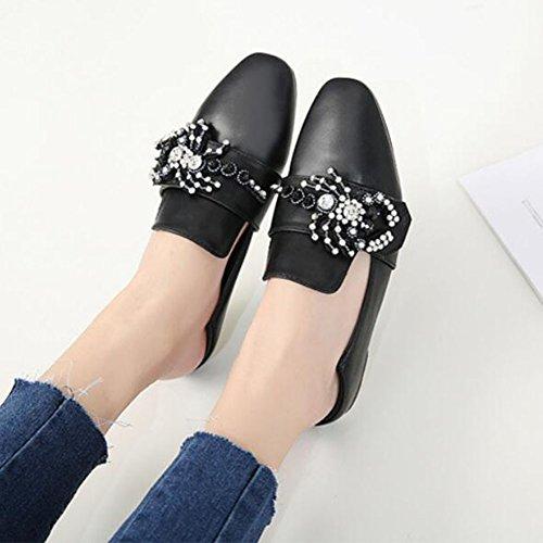 scarpe nera Scarpe Albicocca piatte esterno casual da GAOLIXIA Scarpe Pu Comode da strass Black Scarpe passeggio donna per rZFx8qr