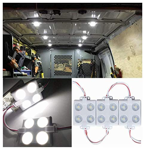 12V 40 LEDs Van Interior Lights White LED Lamp Waterproof with LED Project Lens for LWB Van Boats Caravans Trailers Celling Light