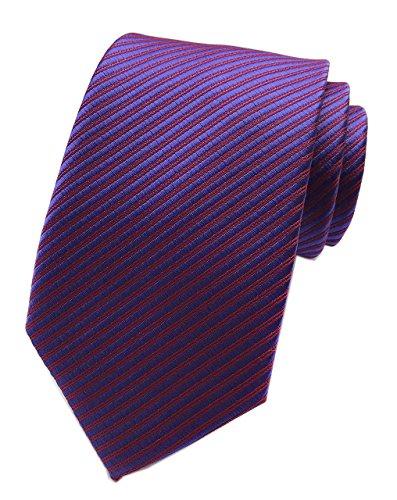 Satin Striped Extra Long Tie - Elfeves Mens Purple Red Extra Long Woven Silk Work Dress Tie Fashion Fun Necktie