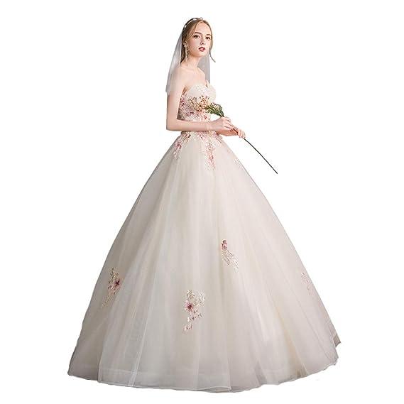 Vestido de novia fuera del Hombro, Boda de la Novia Simple Princesa era de tamaño Fino Champagne Ailin Home (Tamaño : XXL): Amazon.es: Hogar