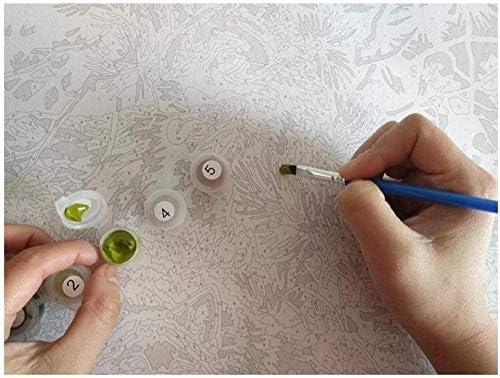 Pintura digital pintura de animales, pintura al óleo digital pintada a mano DIY gato y mariposa mural sobre lienzo decoración de jardín de arte 40x50cm (con marco)