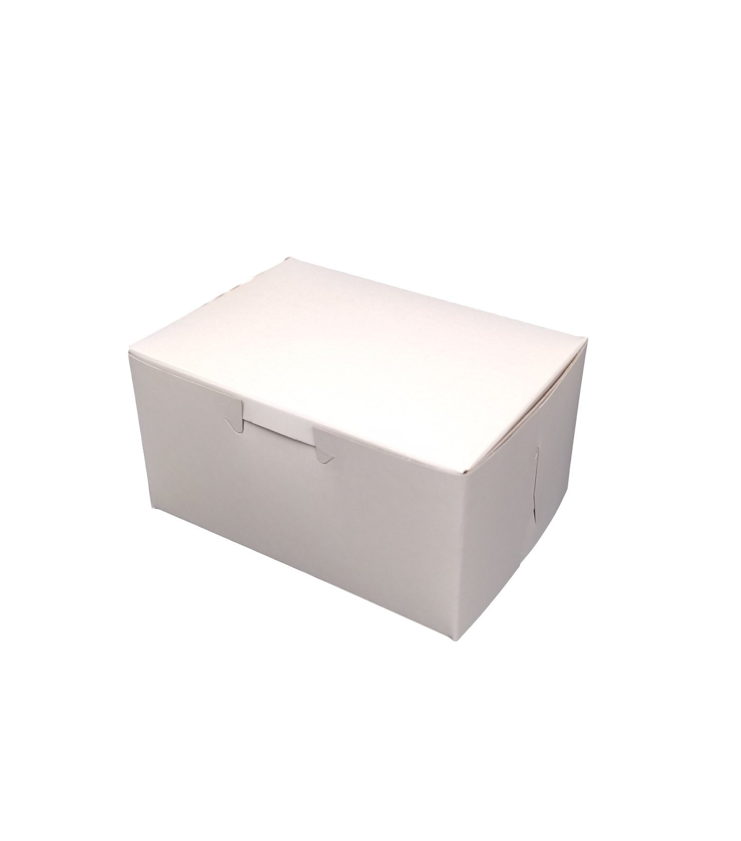 MT Products 5.5'' x 4'' x 3'' Clay Coated Kraft Paperboard White Non-Window Lock Corner Bakery/Treat Box (Pack of 20)