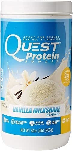Quest Nutrition Protein Powder, Vanilla Milkshake, High Protein, Low Carb, Gluten Free, Soy Free, 2lb Tub, Packaging May Vary