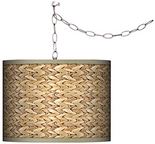 Swag Style Seagrass Print Shade Plug-in (Spider Ceiling Drapes)