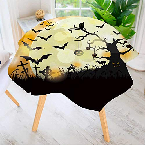 Leighhome Spring & Summber Tablecloth- Halloween Flyer Design with Big Moon Eps Vector File. for Outdoor or Indoor Use, BBQs 40