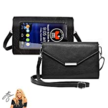 Touch Screen Purse Luxe Backed by Lori Greiner Fits Most Smartphones – Stylish Crossbody with Shoulder Strap - RFID Keeps Cash, Cards & Phone Screens Safe/Protected- Black