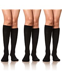 DoSmart Women Girls' Cable Knit Cotton Long Knee High Socks 3 Pairs
