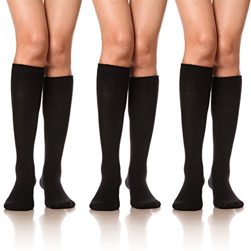 DoSmart Women Girls' Cable Knit Cotton Long Knee High Socks 3 Pairs(3 Pairs Black)