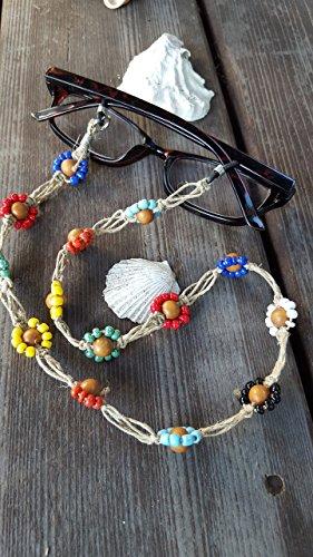 Beaded Flower Hemp Eye Glasses Chain