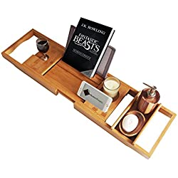 ModernTropic Luxury Bamboo Bathtub Caddy and Tray – Create Your Own Spa at Home - Expandable Non-Slip Wooden Bath Tray Securely Holds Drinks, Book/Tablet, Bath Accessories, Phone