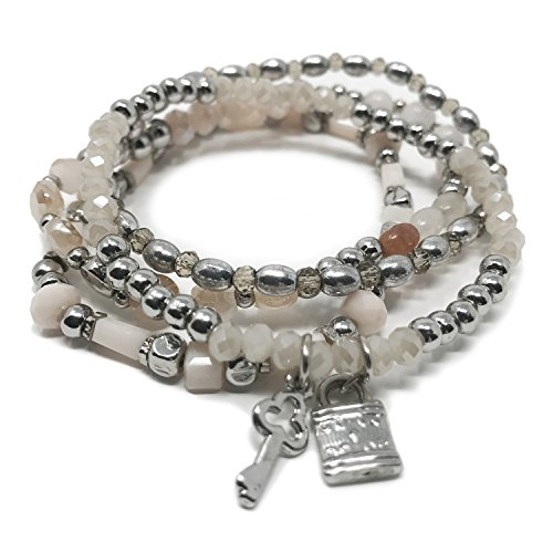 UPC 045927394337, JADE POP - Women's Multicolored Beaded Stretch Stackable Chain Bracelet Set with Charm (White Key)