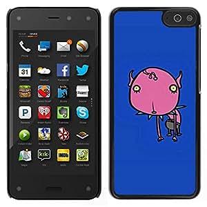 Caucho caso de Shell duro de la cubierta de accesorios de protección BY RAYDREAMMM - Amazon Fire Phone - Flor pintada azul del patín del monstruo