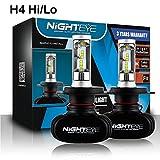 LED Headlight Bulbs, Wishshopping Nighteye-A315-S1 H4 50W 8000LM 6500K Cool White LED Headlight Bulbs Headlight Conversion Driving Lamp - 3 Year Warranty