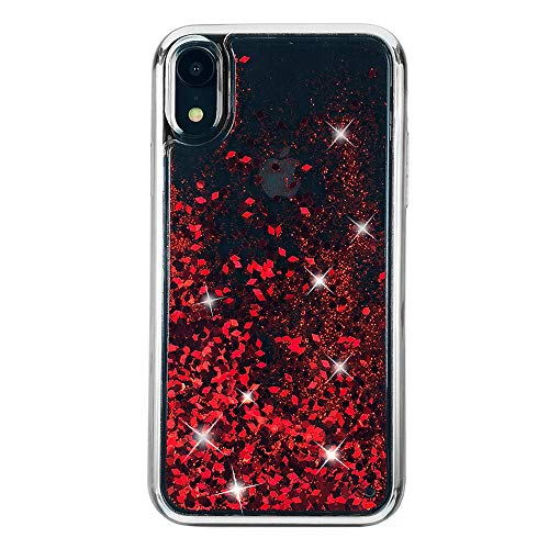 uCOLOR Red Glitter Case Compatible for iPhone XR Waterfall Liquid Sparkling Quicksand Clear Protective Case Compatible for iPhone XR(6.1