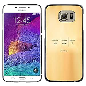 CASEMAX Slim Hard Case Cover Armor Shell FOR Samsung Galaxy S6- VICTOR HUGO - QUOTE