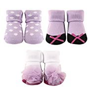 Luvable Friends 3-Pack Little Shoe Socks Gift Set, Purple With Bow, 0-9 Months