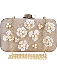 Womens Floral Beaded Design Evening Clutch Bags Wedding Purse