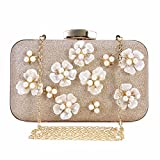 Chichitop Women's Floral Beaded Design Evening Clutch Bags Wedding Purse (Apricot)