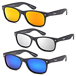 Polarized Sunglasses Men and Women 3 Pack 7 Polarized and 100% Protection Against UVA/UVB Rays Classic Vintage Style with Free Frame Cord and Carrying Pouch/Cleaning Cloth Brushed Matte Finish Frames with Reinforced Metal Hinges
