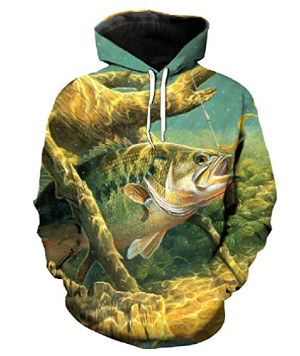 Hale Tomlinson Unisex Cool Chase Hook Fish Print Fun 3D Hooded Sweatshirt Pullover Hoodies Medium