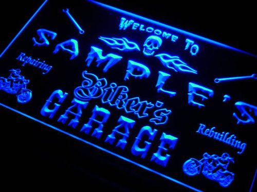 qu-tm Name Personalized Custom Biker's Garage Motorcycle Repair Bar Neon - Custom Engraving Motorcycle