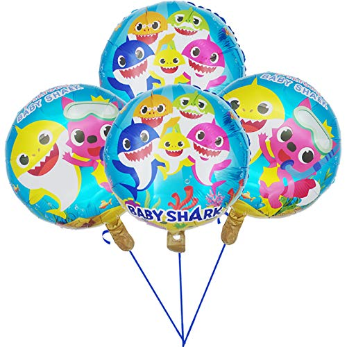 Tuoyi Baby Shark Party Supplies, 4pcs Baby Shark Duplex Prints Foil Balloons, Baby Shark Birthday Party Decorations