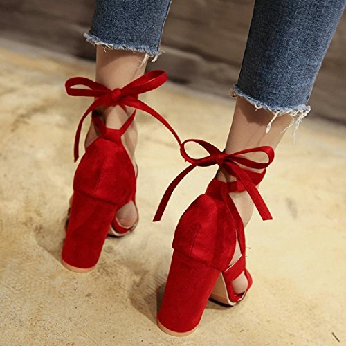 Damenschuhe Wildleder Sandaletten Bandage Dick mit Hohen Absätzen Offene Schuhe (Schwarz) Rot