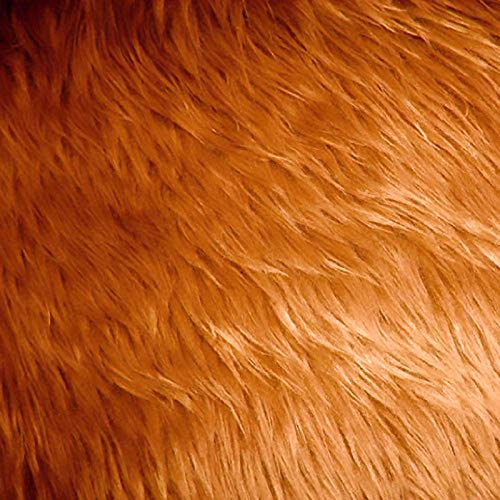 Faux / Fake Long Pile Fur Mongolian DARK CAMEL Fabric / 1 YARD
