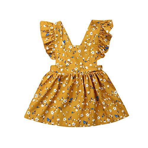 Hwaikun Toddler Tutu Dress Infant Sleeveless Vest Skirt Baby Backless Cute Romper for Girl Ruffle Skirt, Ages for 6Mos-5T (Yellow, 5-6 -